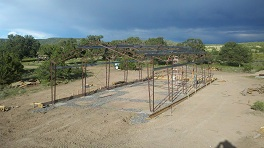 Steel frame in place